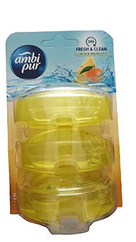 Ambi Pur 6 Stück 3 flüssige WC-Steine Nachfüller 3 x 55ml - Lemon & Mandarin