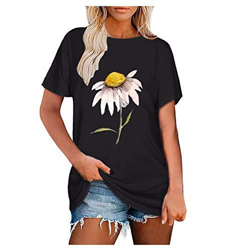 YANFANG Tops para Mujer, Camisetas Informales Fluidas De Manga Corta, con Cuello Redondo Casaul Verano,TNica Casual Elegante Rayas T-Shirt,Blanco,Vino,Negro