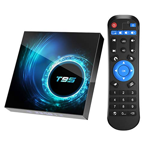Android 10.0 TV Box, T95 4GB RAM 64 ROM Allwinner H616 Quad-Core 64-bit ARM Cortex-A53 Android Box with 2.4G/5G Dual WiFi 10/100M Ethernet, Support H.265/3D/6K Ultra HD/BT 5.0/HDMI 2.0 Smart TV Box