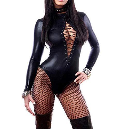 Wonder Pretty Women's Long Sleeve Lace-up Club Bodysuit Leather Teddy Lingerie (XL) Black