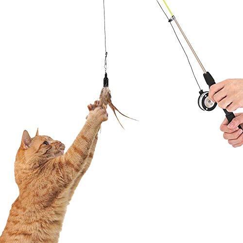 Teleskop-Angelrute mit Angelrolle für Katzen, zum Spielen mit Ihrer Katze und zum Teilen von schönen Momenten – leicht handlich für Katzen jeden Alters.