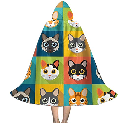 Cute Cats Kids Hooded Cloak Cape For Halloween Party Role Play Cosplay Costume For Kids Boys Girls
