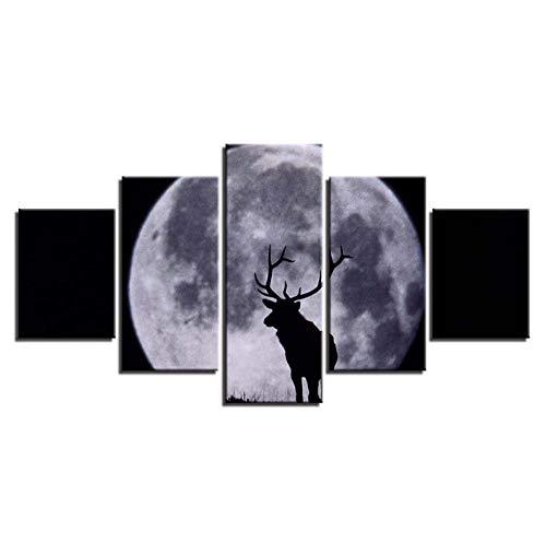 lglays HD Prints - Lienzo modular (5 piezas, luna y animales), diseño de ciervos, vista nocturna, marco de pintura para pared, decoración moderna, 20 x 35 x 2,20 x 45 x 2,20 x 55 x 1
