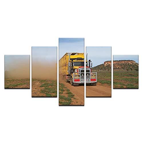 Gbwzz 5 stuks schilderijen op canvas 5 panelen modern transport vrachtwagen poster canvas schilderij print op canvas Wall Art Home decoratie voor woonkamer No Frame 20x35 20x45 20x55cm