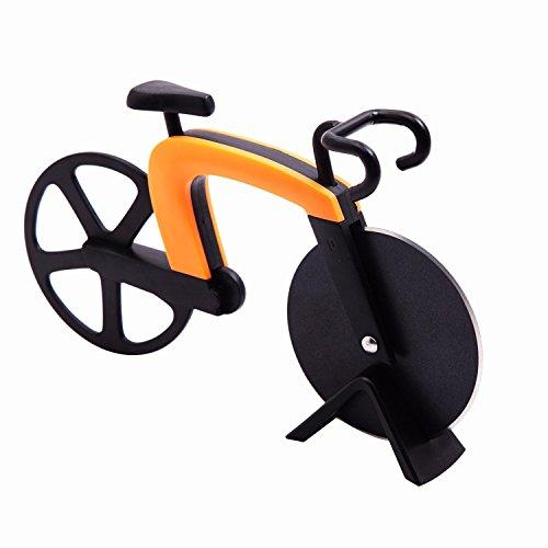 GA Homefavor Tagliapizza a Forma di Bicicletta in Acciaio Inox Lame con Rivestimento Antiaderente Utensili da Cucina con Cavalletto