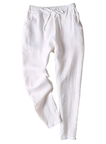 Yimoon Women's Casual Elastic Waist Drawstring Tapered Linen Pants Trousers(White-S)