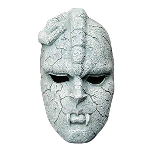 QWEASZER Halloween Cosplay Party Terror Jojo Bizarre Adventure Mask TV Anime (máscara de Piedra) Jojo Masquerade Resina Piedra Fantasma máscara Manualidades decoración,Grey-24 * 13CM
