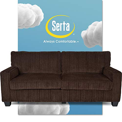 """Serta Palisades Upholstered Sofas for Living Room Modern Design Couch, Straight Arms, Soft Fabric Upholstery, Tool-Free Assembly - 73"""" Sofa - Brown"""