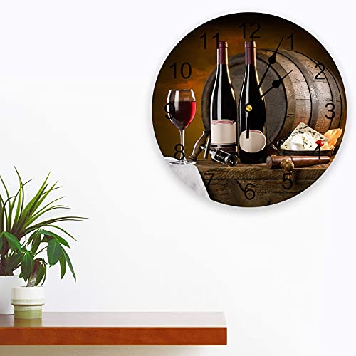 Relojes de Pared Que no Hacen tictac rústico UVA y Barril de Vino Redondo Reloj de Pared decoración con árabe Grande para Cocina, Sala de Estar, Oficina, Dormitorio, Aula