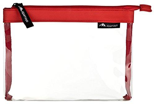 Alpamayo® transparente Kulturtasche für Flüssigkeiten im Handgepäck Koffer oder Trolley, durchsichtiger Kosmetikbeutel, ideal als Flugbeutel, 1l Volumen, rot