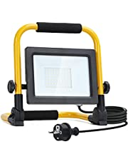 Aigostar LED Bouwlamp, Waterdicht Schijnwerper met Klapbeugel en Netsnoer Stekker,Aluminium Behuizing Werklamp,360 ° Omwenteling