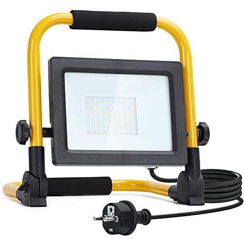 Aigostar Foco de Trabajo LED 30W,6500K Luz Blanca, 2700LM Luz de Trabajo con Giratorio 360º,Cable de 1.8M para Uso en Interiores y Exteriores,para Obra, Taller, Garaje.