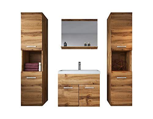 Badplaats B.V. Badezimmer Badmöbel Set Montreal XL 60 cm Waschbecken Wotan (Braun) - Unterschrank Hochschrank Waschtisch Möbel