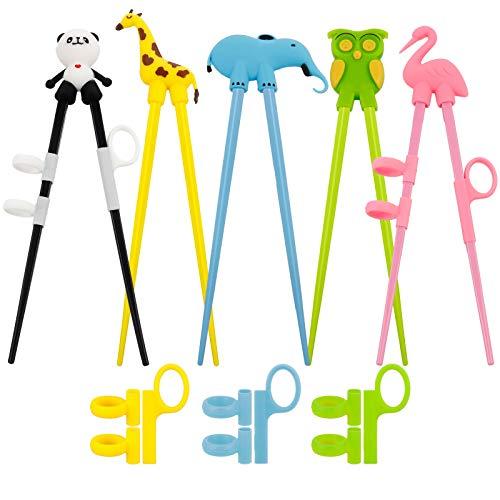 Veraing 5 Paare Training Essstäbchen Kinder Helfer Anfänger Training Chopsticks Japanische Geschirr Set Tiere Lernen Stäbchen für Kinder Anfänger (Panda Flamingo Giraffe Elefant Eule)