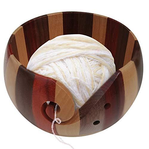 Coopay Tazón de lana para tejer, cuenco madera para proyectos de ganchillo y tejer, organizador bolas de lana de gran calidad, acabado suave y suave, protege la lana y evita enredos, grande, madera