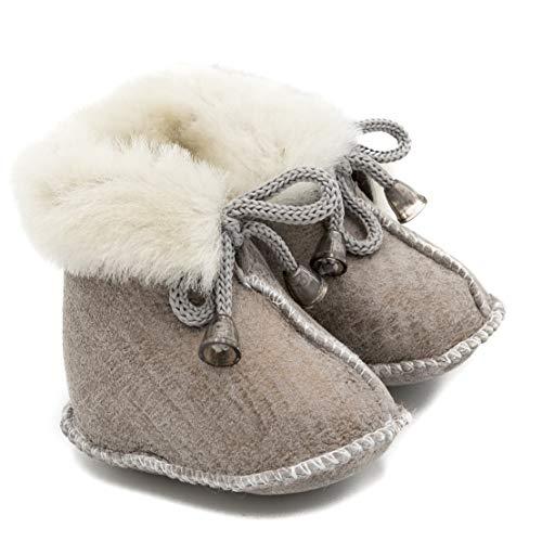 ABSoft Milk Model 01 - Scarponcini da neonato, unisex, caldi, invernali, Verde (Latte ), L (12-18 Monate)