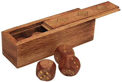 Wood Dice Box with 5 Dice - Brass Inlay Decorative Storage Box - Dice Board Game with Sliding Lid - Best Indoor Outdoor Family Kids Teen Adults - Home Tabletop Decor - Birthday Present