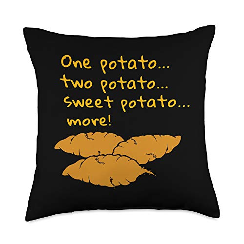 Eat Plants with Chalmers Mercantile Sweet Potato Funny Meme Plant-Based Starchivores Vegans Gift Throw Pillow, 18x18, Multicolor
