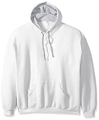Fruit of the Loom Men's Hooded Sweatshirt,White,X-Large