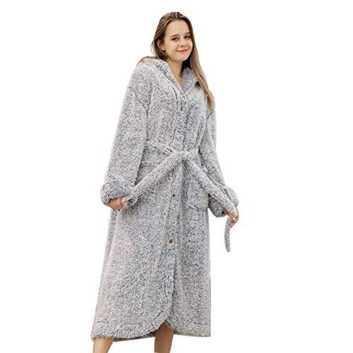 Damen-Pyjama Mit Kapuze, Flauschige Bademäntel, Weiche Polyester-Pyjamas - Bequeme...