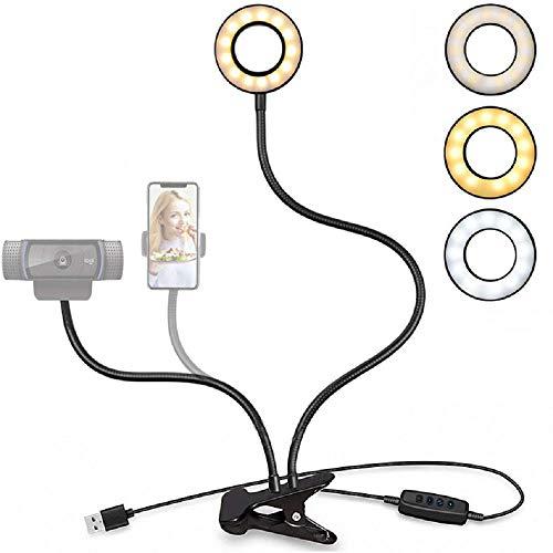 Webcam soporte de luz para transmisión en vivo, mejora la luz del anillo de selfie con cámara web y soporte para teléfono celular para transmisión en directo, maquillaje, vídeo de YouTube