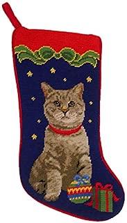 A Pets World Grey Cat Needlepoint Christmas Stocking