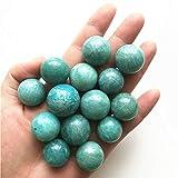 KDHJY Bola 1/2 Pieza Cristales Amazonita Natural Esfera de Cristal de Cuarzo de la Bola de Cuarzo Regalo de la decoración Natural 18-23mm Decorativa (Color : 1pc, Size : 21 23mm)