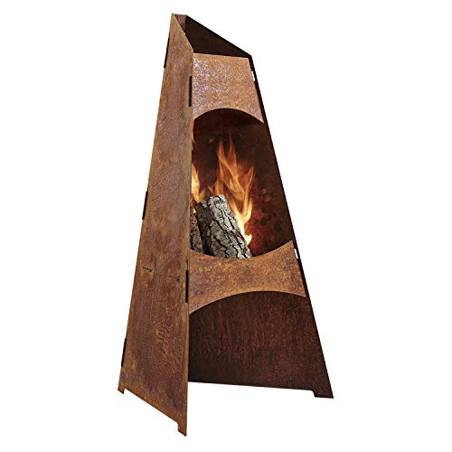 Redwood Denmark Garden Chiminea | Corten Steel | Fire Pit | Patio Heater | Garden Chimenea