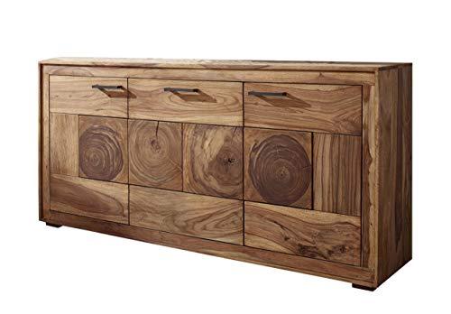 SAM Sideboard Nora I, Akazienholz massiv & naturfarben, Kommode mit 3 Türen, Schwarze Griffe, 170 x 82,5 x 40 cm