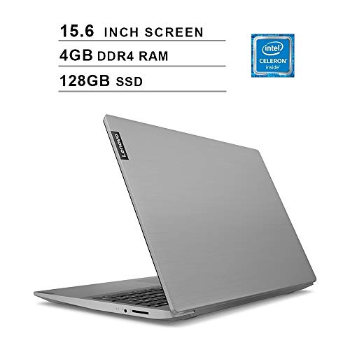 Lenovo 15.6' High Performance Laptop, Intel Celeron 42050U Dual-Core Processor, 4GB DDR4 RAM, 128GB SSD, Webcam, Wireless+Bluetooth, HDMI, Window 10 (Intel Processor) (Platinum Gray)