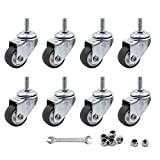 Luomorgo 8 Pcs 1' Caster Wheels Swivel Stem Casters for Small Tiny Shopping Cart Trolley Wheel, No Noise TPE M6 x 15mm Threaded Stem Caster, 141lb/64kg Load Capacity