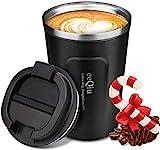eeQiu Taza de café para Llevar 13oz 100% a Prueba de Fugas - Taza de Viaje de Acero Inoxidable - Taza de automóvil de Doble...