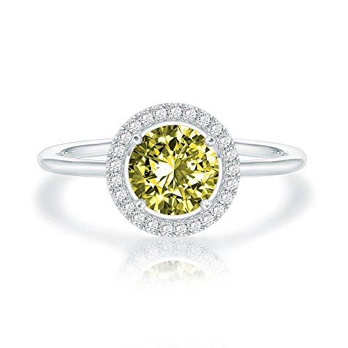 Swarovski Crystal 14K White Gold Plated Birthstone Rings | White Gold Rings for Women | Peridot Ring