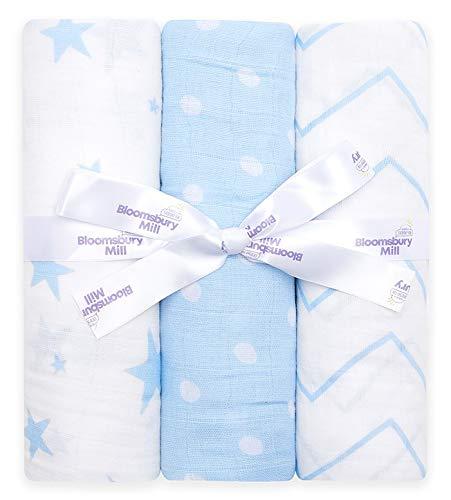 Bloomsbury Mill - Pack of 3 x Large Soft Muslin Swaddles - Pram & Nursing...