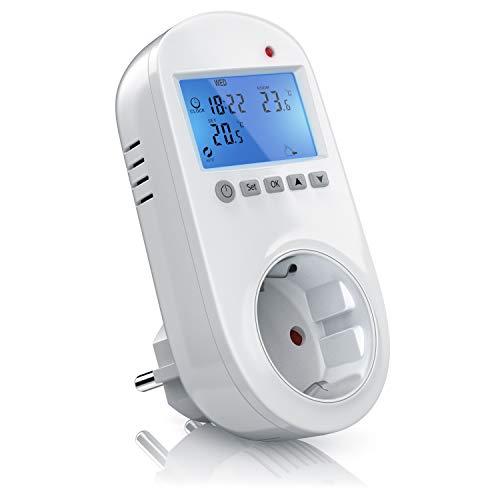 Bearware Steckdosen-Thermostat - Steckerthermostat - Digital Plug In Thermostat - individuell programmierbar - 2 Zoll LCD-Display - Blaue Hintergrundbeleuchtung - für Heiz- und Klimageräte