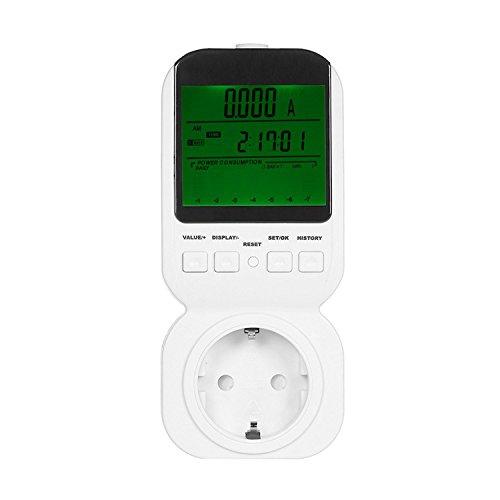 Gosear Compteurs d'énergie, Haute précision mètre de Puissance, Plug Power Energy Meter mètre Douille avec rétro-éclairage Vert Grand écran LCD Surcharge Alarme Fonction