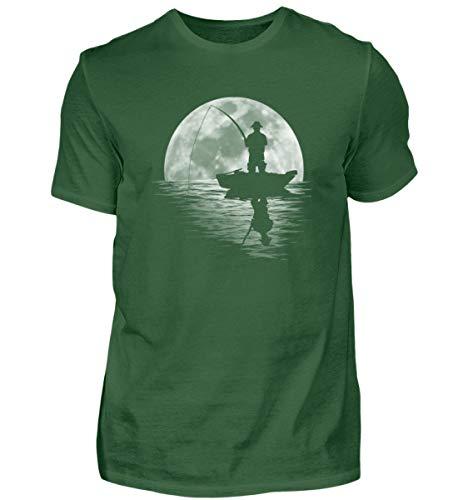 Vollmond - Camiseta para hombre con diseño de pez con una caña de pescar verde oscuro M