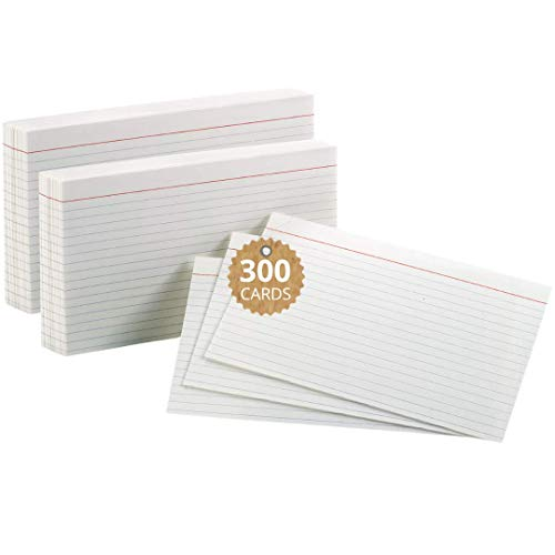 """1InTheOffice Index Cards 5x8 Ruled, White Ruled Index Cards, 5"""" x 8"""" 100/Pack, 3 Pack"""