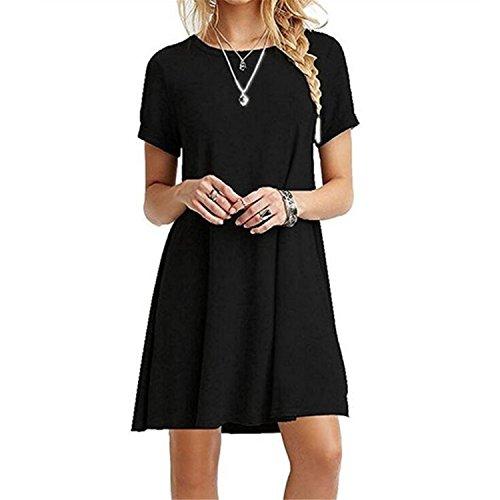 HUAYIN Damen Sommer Strecken Casual Lose Schwarz Kurzarm T-Shirt Kleid Swing Kleid Plus Tops (Black, L)