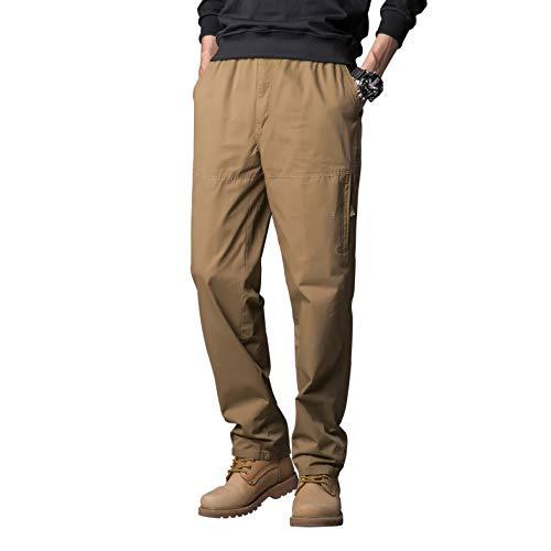 Gmardar Pantalones Hombre Pantalón Casual para Hombre de Algodón con Bolsillos Laterales y Cinturón Ajustable