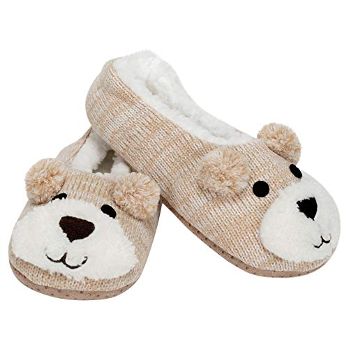 Brown Puppy Dog Womens Animal Cozy Indoor Plush Lined Non Slip Fuzzy Soft Slipper - Medium
