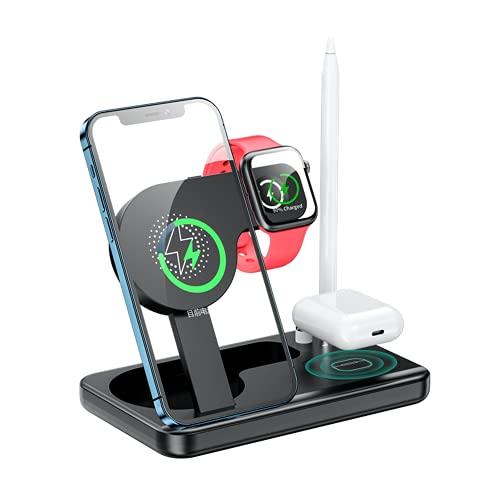 iSinofc Cargador inalámbrico, Soporte de Carga 4 en 1 para Apple Watch Airpods Pro, Cargador inalámbrico Certificado Qi para iPhone Apple Watch Airpods Samsung