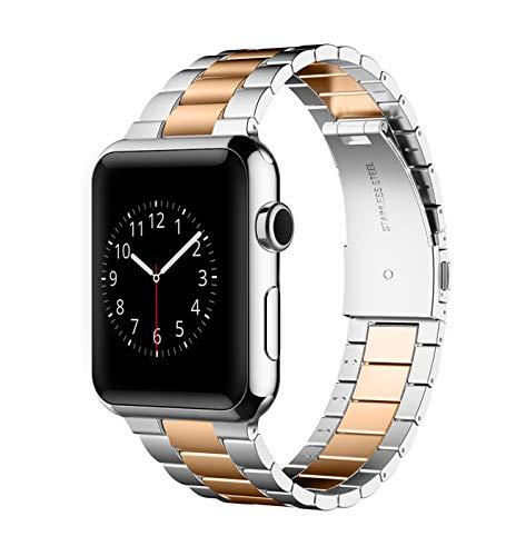 Herrlich Armband kompatibel mit Apple Watch 38mm/44mm Prämie Edelstahl Metall Ersatz Armband kompatibel mit iWatch/ Series SE/6/5/4/3/2/1 (38/40, Silber+Rose Gold)