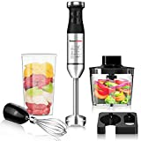 Immersion Blender Handheld,225W 9-Speed Stainless Steel Hand Blender Set with Wall Mounted Bracket,Food Grinder Bowl,Measuring Mug,Egg Whisk for Smoothies,Infant Food,Sauces,Soups,Puree