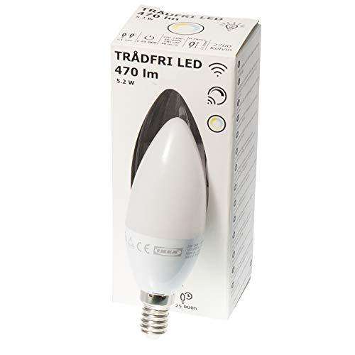 Ikea Tradfri E14 Smart dimmbare LED-Kerzenlampe, weißes Spektrum, 470 lm, 5,2 W, Opal