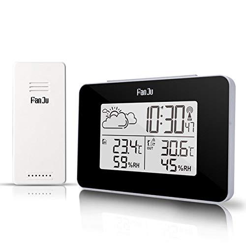 LKU Wecker Meteorologische Station Digitaluhr Funk-Thermometer Hygrometer Sensor LED-Alarm, Schwarz