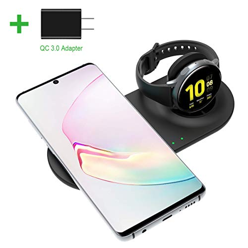 EloBeth Qi-Certified Wireless Charger Stand Compatible with Galaxy Watch Active/Active2 40mm 44mm Galaxy Watch 42mm 46mm Galaxy Note10/ 9/ S10 Galaxy Buds/Airpods Pro (AC Adapter)