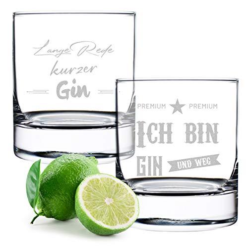 polar-effekt Gin Tonic Gläser 2X mit gravierte Sprüche - Cocktailglas - Genießen - 320 ml Volumen - Geschenk für Mann und Frau - Geburtstag, Weihnachten - Spruch 3 und 4