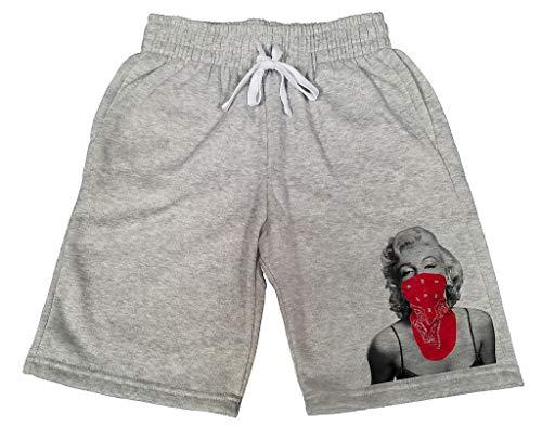 Men's Marilyn Monroe Red Bandana B631 Gray Fleece Jogger Sweatpants Gym Shorts Medium