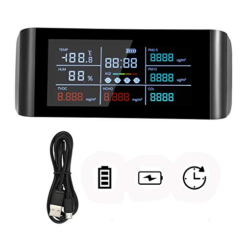 Kacsoo Monitor della qualità dell aria, sensore di qualità dell aria con display digitale a schermo LED da 5,5 pollici per CO2, PM2.5  PM10,HCHO,TVOC,AQI, rilevatore di temperatura e umidità dell aria